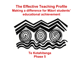 Te Kotahitanga Phase 4 The Effective Teaching Profile