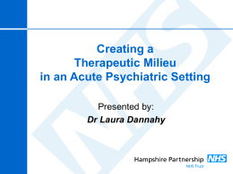 Creating a Therapeutic Milieu in an Acute Psychiatric