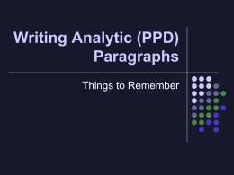 Writing Analytic Paragraphs