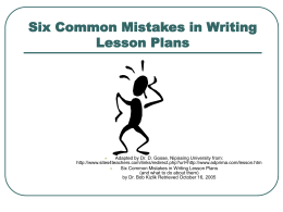 Six Common Mistakes in Writing Lesson Plans