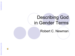 Describing God in Gender Terms