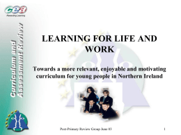 Presentation by Carmel Gallagher on learning for life and work