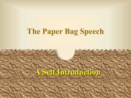 Paper Bag Self-Intro Speech