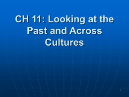 CH 11: Looking at the Past and Across Cultures