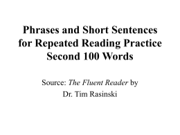Phrases and Short Sentences for Repeated Reading Practice First
