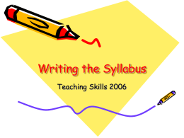 Writing the Syllabus