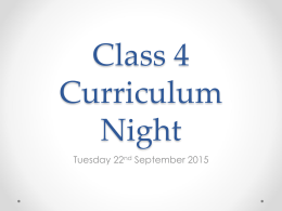 Class 4 Curriculum Night - Lothersdale Primary School