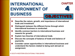 INTERNATIONAL ENVIRONMENT OF BUSINESS