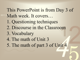 Math I Unit 3 – Questioning, Discourse, and Vocab