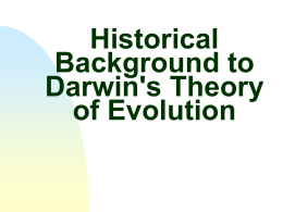 Historical Background to Darwin`s Theory of Evolution