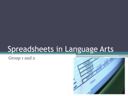 Spreadsheets in Language Arts