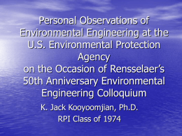 Environmental Engineering at the U.S. Environmental Protection