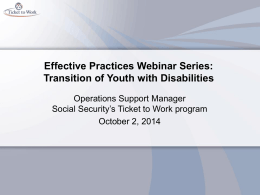 Effective Practices Webinar Series: Transition of