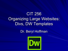 Website Organization and DW Templates