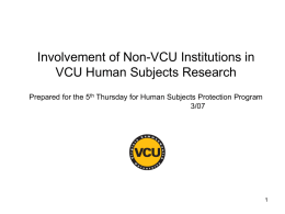 Involvement of Non-VCU Institutions in VCU Human Subjects