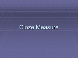 Cloze Measure
