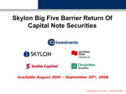 SKYLON Big Five Barrier ROC Notes