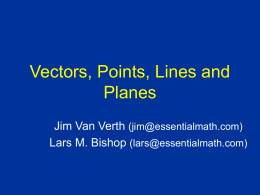 Vectors and Points, Lines and Planes