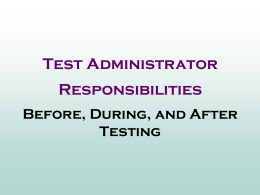 2011 FCAT CBT Test Administrator PowerPoint