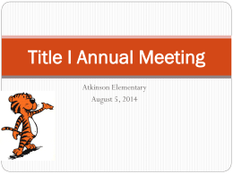Title I Annual Meeting - Coweta County Schools