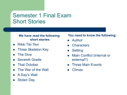 Semester 1 Final Exam Short Stories