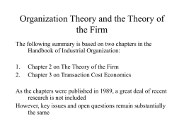 Organization Theory and the Theory of the Firm
