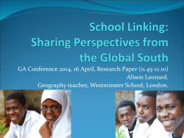 School Linking: research in Sub-Saharan African schools. Sharing