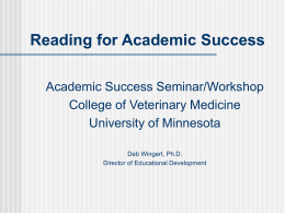 Reading for Academic Success - College of Veterinary Medicine