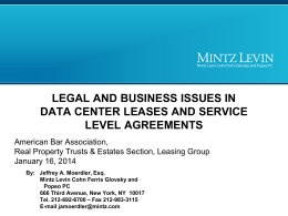 Data Center Leases and Service Level Agreements