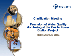 Clarification Meeting Provision of Water Quality Monitoring at the