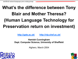 Human Language Technology for Preservation return on