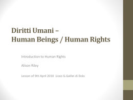 Diritti Umani – Human Beings / Human Rights