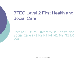 Cultural diversity in health and social care