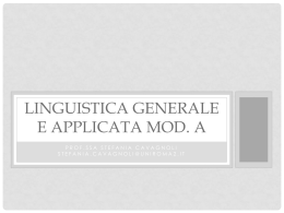 Linguistica generale e applicata Mod.A