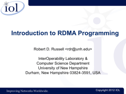 Introduction to RDMA Programming - Computer Science Department