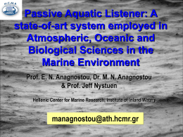 Passive Aquatic Listener: A state-of