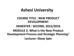 New Product Development Process and Strategic Planning File
