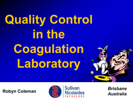 Quality Control in the Coagulation Laboratory Brisbane Australia