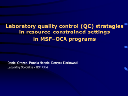 Laboratory quality control strategies in resource