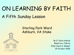 On Learning by Faith (29 October 2006) - PowerPoint