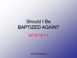 Should I Be BAPTIZED AGAIN? - Hebron Lane Church of Christ