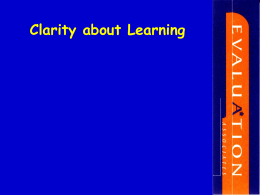 Clarity about Learning - EHSAS