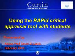 Using the RAPID critical appraisal tool with students