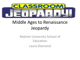 Middle Ages to Renaissance Jeopardy