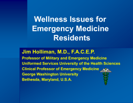 Wellness Issues for Emergency Medicine Residents