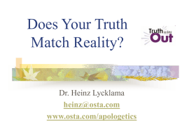 RealityLecture - Heinz Lycklama`s Website