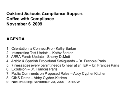 Oakland Schools Compliance Support Coffee with Compliance