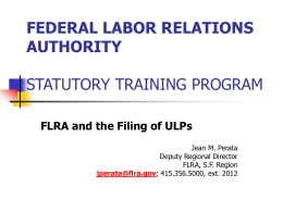 FLRA and the Filing of ULPs
