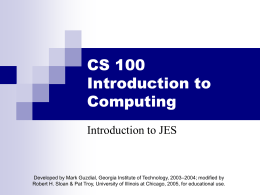 IntroductionToJES.1 - UIC Computer Science