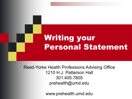 Writing the Personal Statement - The Reed
